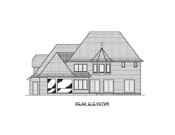 European Tudor House Plan 53826 Rear Elevation
