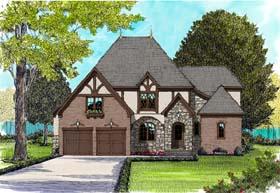 Tudor , European House Plan 53827 with 4 Beds, 4 Baths, 2 Car Garage Elevation