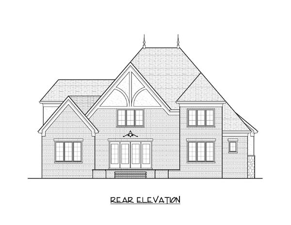 European Tudor House Plan 53827 Rear Elevation