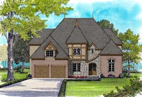 European Tudor House Plan 53829 Elevation