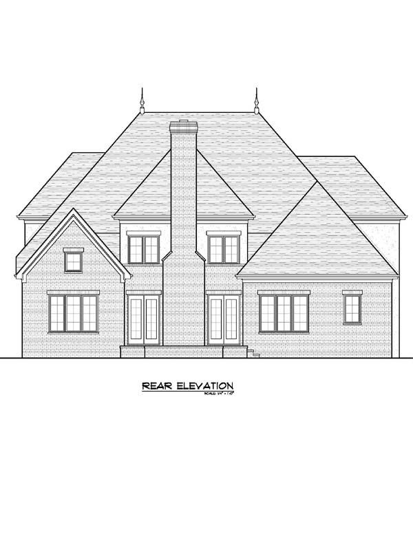 European Tudor House Plan 53829 Rear Elevation