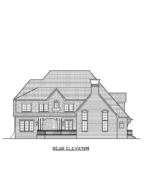 European House Plan 53831 Rear Elevation