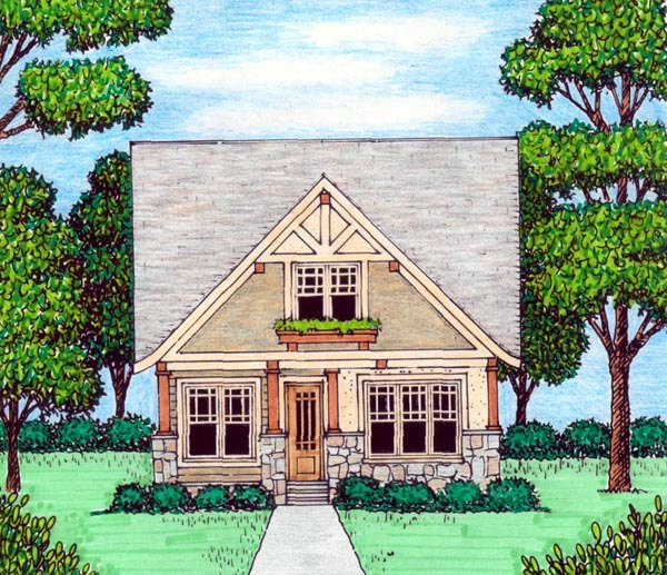 House Plan 53837 | Bungalow Craftsman Tudor Style Plan with 2258 Sq Ft, 4 Bedrooms, 4 Bathrooms Elevation