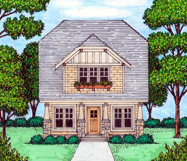 Bungalow Craftsman Tudor House Plan 53838 Elevation
