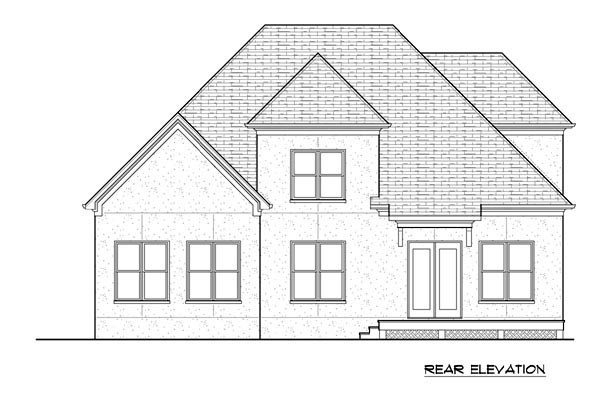 Country Rear Elevation of Plan 53839