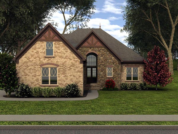 Tudor House Plan 53840 with 3 Beds, 3 Baths, 2 Car Garage Front Elevation
