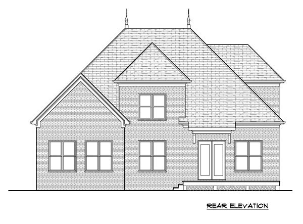 Tudor House Plan 53840 with 3 Beds, 3 Baths, 2 Car Garage Rear Elevation