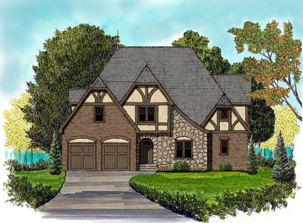 Country, Tudor House Plan 53841 with 4 Beds, 4 Baths, 2 Car Garage Elevation