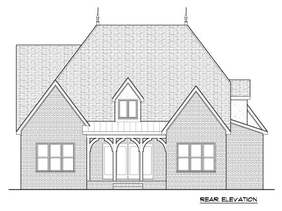 Country, Tudor House Plan 53841 with 4 Beds, 4 Baths, 2 Car Garage Rear Elevation