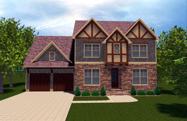 Craftsman Tudor House Plan 53842 Elevation