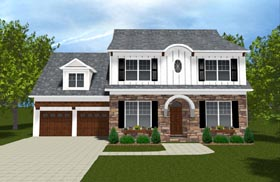 Colonial Farmhouse Traditional House Plan 53843 Elevation