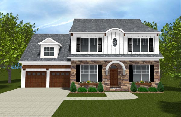 Colonial, Farmhouse, Traditional House Plan 53843 with 4 Beds, 3 Baths, 2 Car Garage Elevation