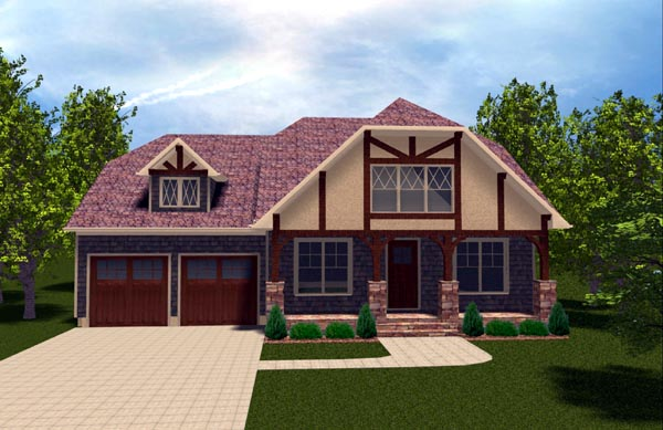 Bungalow , Craftsman , Tudor , Elevation of Plan 53844