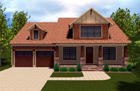 Bungalow , Craftsman House Plan 53845 with 4 Beds, 4 Baths, 2 Car Garage Elevation