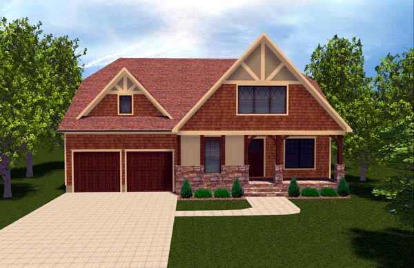 Bungalow, Craftsman, Tudor House Plan 53846 with 4 Beds, 4 Baths, 2 Car Garage Elevation
