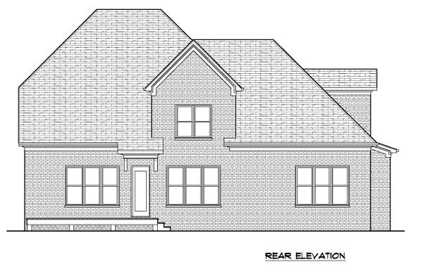 House Plan 53849 | Tudor Style Plan with 3436 Sq Ft, 5 Bedrooms, 4 Bathrooms, 2 Car Garage Rear Elevation