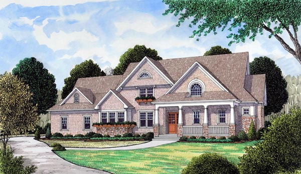 House Plan 53851 | Cape Cod Craftsman Style Plan with 3592 Sq Ft, 4 Bedrooms, 5 Bathrooms, 3 Car Garage Elevation