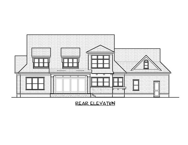 House Plan 53851 | Cape Cod Craftsman Style Plan with 3592 Sq Ft, 4 Bedrooms, 5 Bathrooms, 3 Car Garage Rear Elevation