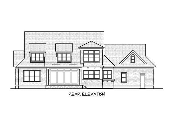 Cape Cod Craftsman House Plan 53851 Rear Elevation