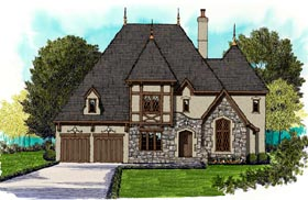 House Plan 53856 | Tudor Style Plan with 4687 Sq Ft, 4 Bedrooms, 5 Bathrooms, 3 Car Garage Elevation