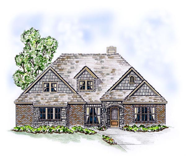 Craftsman European Traditional House Plan 53900 Elevation