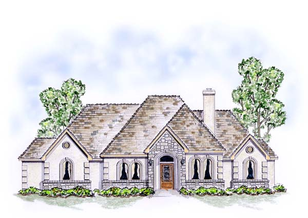 European, Traditional House Plan 53901 with 3 Beds, 3 Baths, 3 Car Garage Elevation