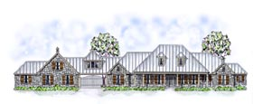 Country Farmhouse Ranch Traditional House Plan 53904 Elevation