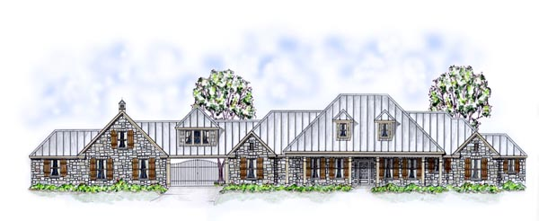 Country, Farmhouse, Ranch, Traditional House Plan 53904 with 3 Beds, 4 Baths, 3 Car Garage Elevation