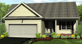 Ranch House Plan 54000 with 2 Beds, 2 Baths, 2 Car Garage Elevation