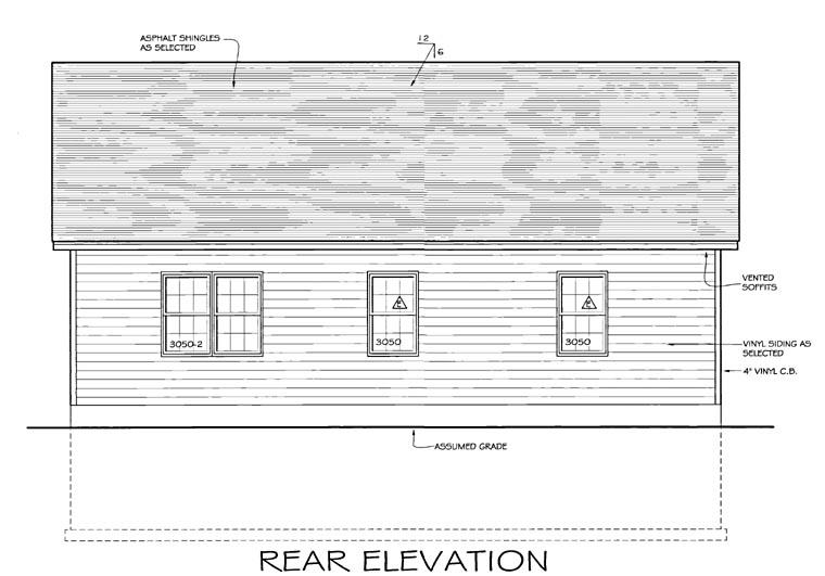 Ranch , Rear Elevation of Plan 54000