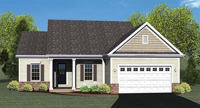 Ranch House Plan 54001 with 2 Beds, 2 Baths, 2 Car Garage Elevation