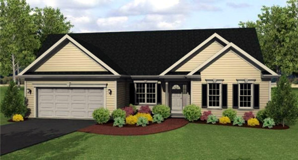 Ranch House Plan 54002 with 3 Beds, 3 Baths, 2 Car Garage Front Elevation