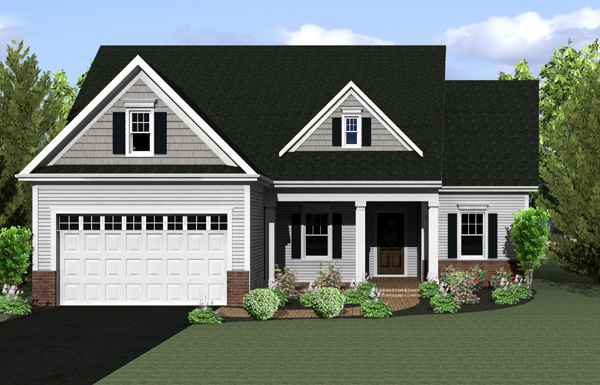 Ranch House Plan 54004 with 2 Beds, 2 Baths, 2 Car Garage Front Elevation