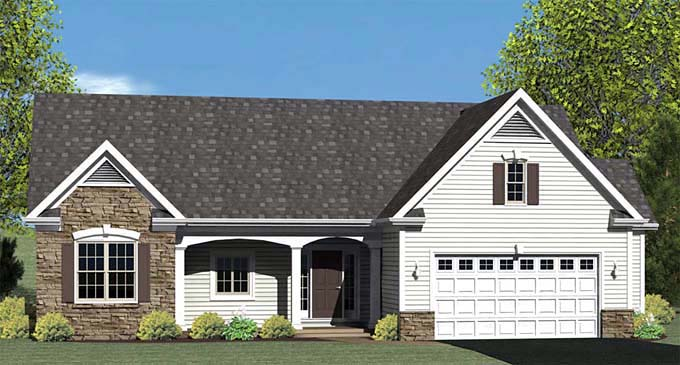 Ranch , Elevation of Plan 54005