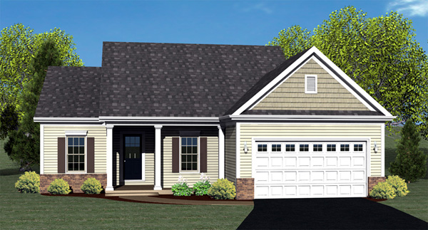 Ranch House Plan 54006 with 2 Beds, 2 Baths, 2 Car Garage Elevation
