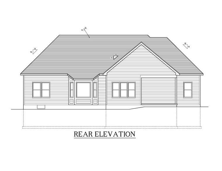 Ranch House Plan 54012 Rear Elevation