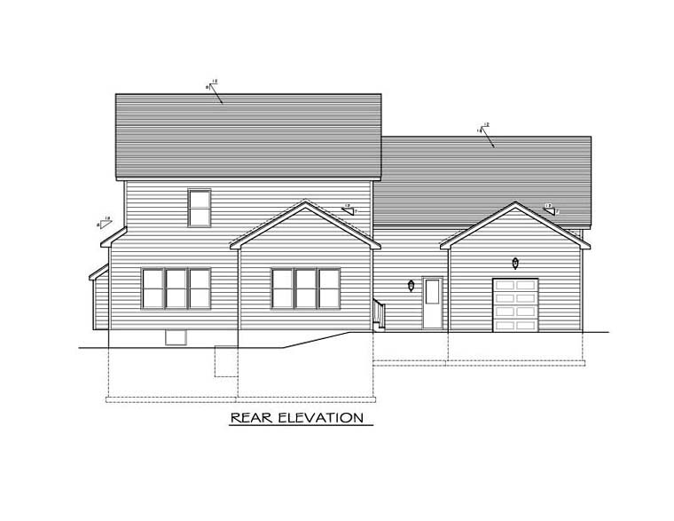 Traditional House Plan 54035 Rear Elevation