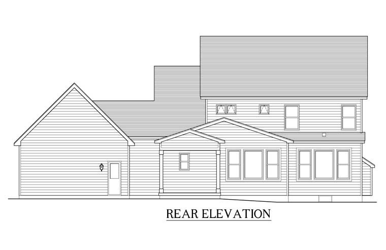 Traditional Rear Elevation of Plan 54040
