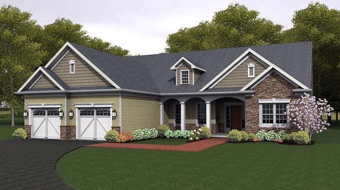 Ranch House Plan 54041 with 3 Beds, 3 Baths, 2 Car Garage Elevation