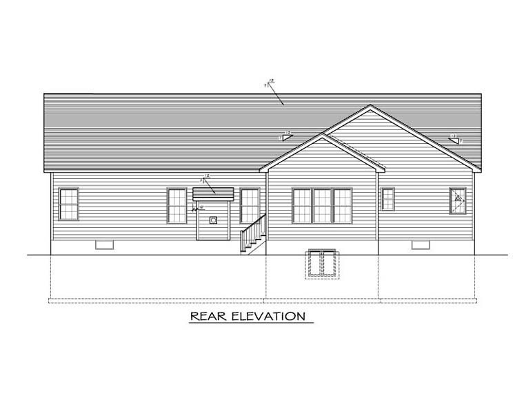 Ranch House Plan 54041 with 3 Beds, 3 Baths, 2 Car Garage Rear Elevation