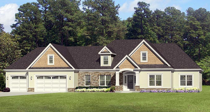 Ranch House Plan 54044 Elevation