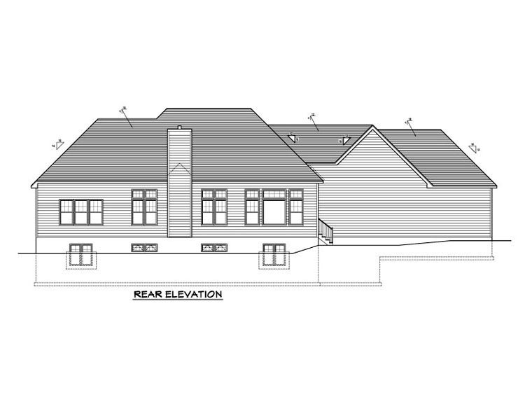 Ranch House Plan 54044 Rear Elevation