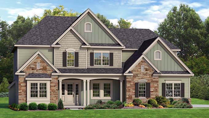 Traditional House Plan 54046 with 3 Beds, 3 Baths, 3 Car Garage Elevation