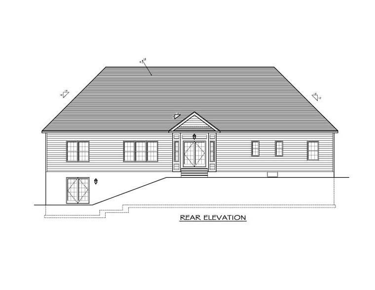 Ranch Rear Elevation of Plan 54047