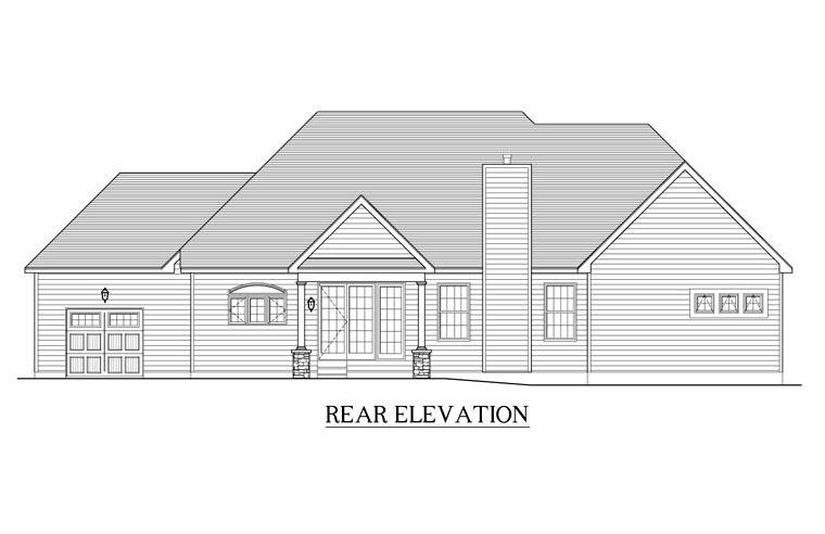 Ranch House Plan 54053 Rear Elevation