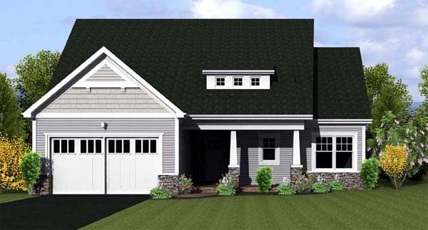 Ranch House Plan 54055 with 2 Beds, 2 Baths, 2 Car Garage Front Elevation