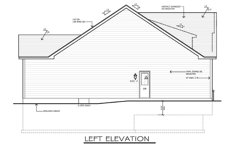 Ranch House Plan 54055 with 2 Beds, 2 Baths, 2 Car Garage Picture 1