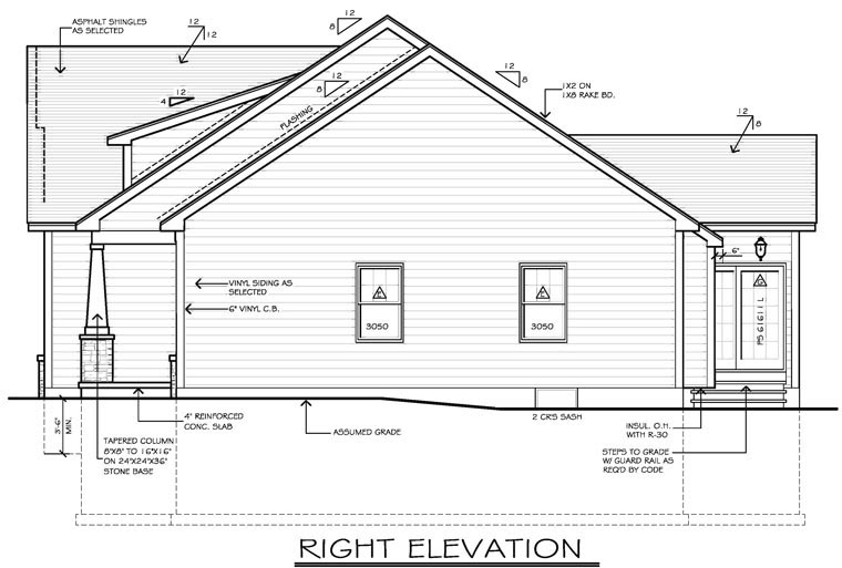 Ranch House Plan 54055 with 2 Beds, 2 Baths, 2 Car Garage Picture 2