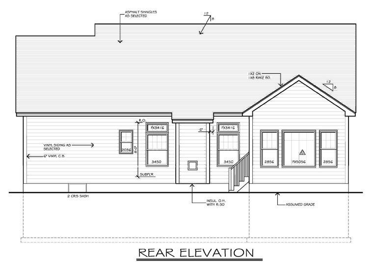 Ranch , Rear Elevation of Plan 54055