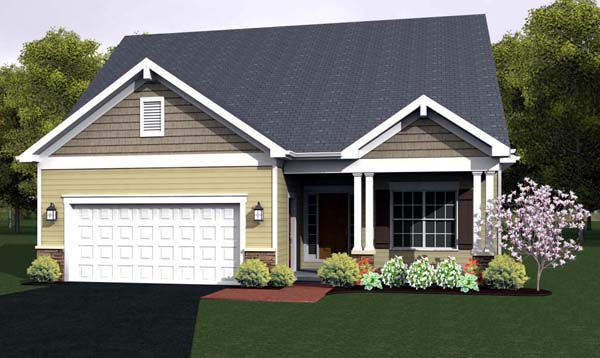 Ranch House Plan 54057 with 2 Beds, 2 Baths, 2 Car Garage Front Elevation